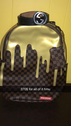 Gucci belt, Louis Vuitton Wallet,sprayground LV backpack for Sale in Indianapolis, IN