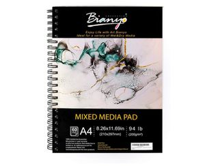 "Bianyo Mixed Media Paper Pad, 8.5"" X 11.5"", 60 Sheets/Each, 94 LB/200 GSM, Pack of 1 Pad, Spiral-Bound Pad, Ideal for Wet & Dry Media Like Art Mark for Sale in Rancho Cucamonga, CA"