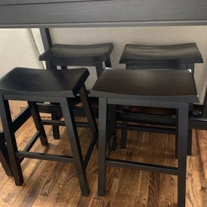 4 Counter Height Black Wood Stool/Chair $100 OBO for Sale in Atlanta, GA