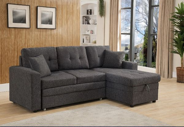 Limited Stock Brand New Linen Fabric Pull Out Sectional Sofa with (Reversible)