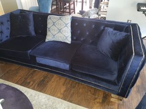 Navy Blue Chesterfield sofa & chair for Sale in Brentwood, NC