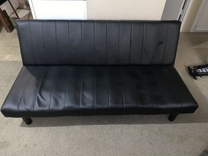 Black leather futon for Sale in Longview, WA
