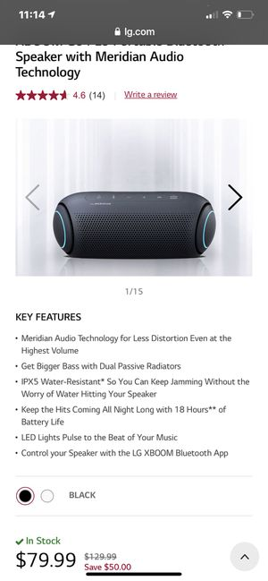 LG PL5 XBOOM Go PL5 Portable Bluetooth Speaker with Meridian Audio Technology for Sale in University Place, WA
