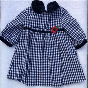 12 month Florence Eiseman gingham black and white dress with red flower detail for Sale in Temecula, CA