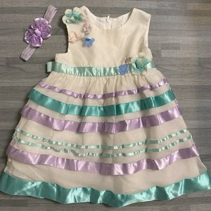 PreOwned Baby Girls 6-9 Months Rare Editions Fancy Dress & Matching Bow SHIPS NATIONWIDE for Sale in Miami, FL