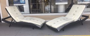 New Outdoor Chaise Lounge Chairs, Wicker W/ Beige Cushion Adjustable, Set of 2 for Sale in Columbia, SC