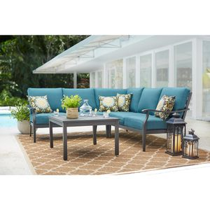Hampton Bay Riley 3-Piece Metal Outdoor Sectional Set with Charleston Cushions for Sale in Columbus, OH