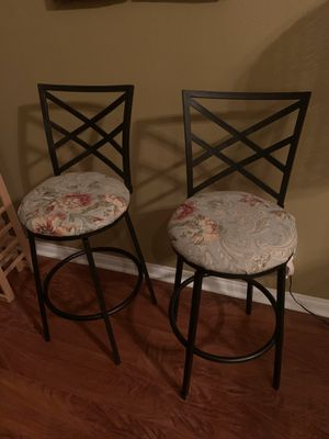 TWO BARSTOOL CHAIRS WITH FABRIC DESIGN for Sale in Rancho Cucamonga, CA