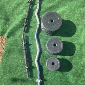 Sunny Curl Bar & Dumbbell Weight Set for Sale in Montebello, CA