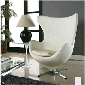 New (MCH) Mid-Century Modern Design White Leather Egg Chair w/ Rotating and Tilt-Lock Feature for Sale in Los Angeles, CA