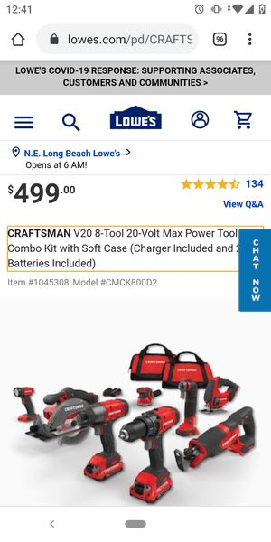 CRAFTSMAN Max Power Tool Combo Kit (Charger Included and 3-Batteries Included) for Sale in Anaheim, CA