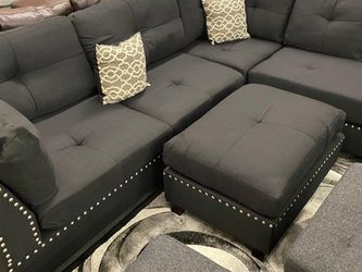 NEW🎊🎉Black 3Pcs Sectional Sofa w/Ottoman (Reversible L/R Chaise) for Sale in Las Vegas,  NV
