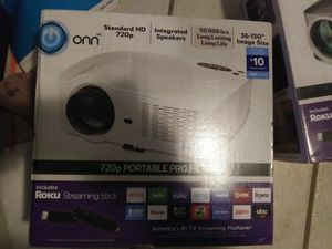 Onn 720 HD projector with Roku setup for Sale in Midlothian, TX