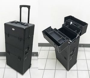 """New in box $90 Cosmetic 2in1 Aluminum Makeup Artist Show Train Case Lock Box 14""""x9.5""""x29"""" for Sale in Whittier, CA"""