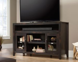 Entertainment/Fireplace Credenza For TVs up to 60inch, Char Pine for Sale in Santa Fe Springs, CA