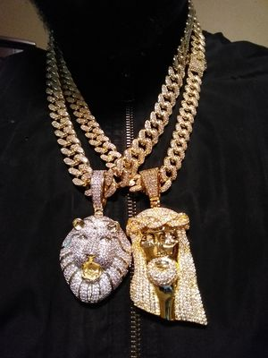 Iced out gold filled Cuban link chains with pendants 120 each for Sale in Hartford, CT