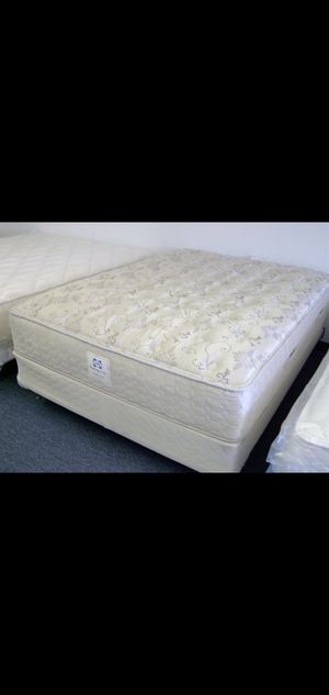 Great Queen Sealy Posturepedic Mattress, Matching Boxspring, Metal Bed Frame and Free Wood Headboard for Sale in Renton, WA