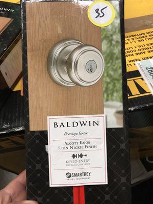 Baldwin Prestige Alcott Satin Nickel Entry Door Knob Featuring SmartKey Security for Sale in Temple City, CA