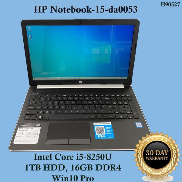 "HP Notebook-15-da0053, Intel Core i5, 16GB DDR4, 1TB HDD, Win10 Pro ""H90527"""