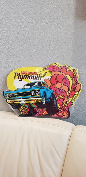 "Plymouth Road Runner Muscle Car sign 17x12"" brand new in packaging. Hang on wall or in garage, man cave. Colorful comic race car embossed metal sign for Sale in Ontario, CA"