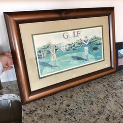 Vintage Golf Art With Frame 23*15inch for Sale in Coppell,  TX