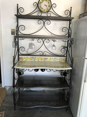 Custom iron and marble bakers rack and matching table for Sale in Moyock, NC