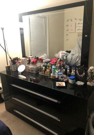 BLACK DRESSER 3 big drawers 6 sections total for Sale in Beltsville, MD