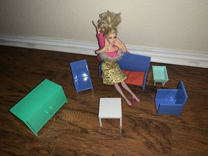Ikea miniature living room set with a barbie doll for Sale in San Antonio, TX