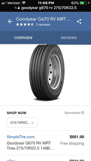 275/70R22.5 Goodyear G670 RV (H) for Sale in Ontario, CA