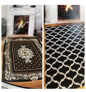 Area Rug Black Very Beautiful, 8x10 super soft & easy to clean . Reversible 2 Sides Prints, new never used. for Sale in La Mesa, CA