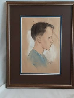 A Vintage Mid-century Modern Portrait By Artist Gene '58 for Sale in Tacoma,  WA