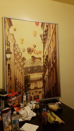 IRENE SUCHOCKI ART - XL Balloons over Paris with Metal frame. for Sale in Southgate, MI