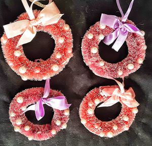 Large red and pink bottle brush wreath christmas xmas ornaments x 4 for Sale in Saginaw, MI