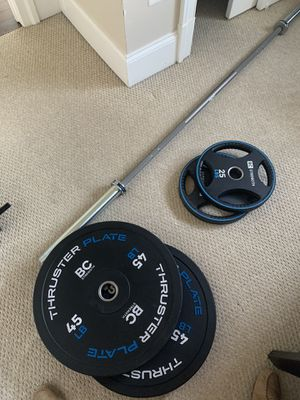 Barbell, plates, bench - Bret Contreras for Sale in Washington, DC