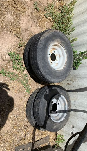 8 inch trailer tires and wheels 4 lug. 2 small tires are ok. for Sale in Peoria, AZ