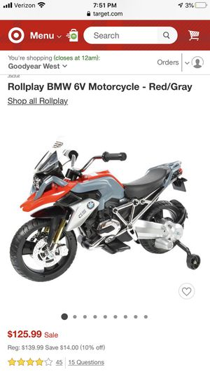 BMW 6V Motorcycle - Red/Gray for Sale in Goodyear, AZ