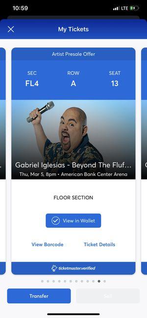 Gabriel Iglesias floor seats! for Sale in Corpus Christi, TX