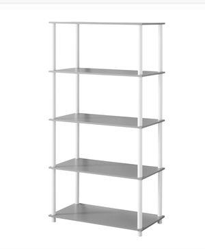 Modern Bookshelf 5-Tier Shelf Cube Storage Organizer Stand Gray And White for Sale in Plano, TX