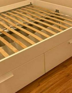 Beautiful Ikea QUEEN Sz Size Bed Frame Bedframe + 4 HUGE Storage Drawers INCLUDED (No Mattress) for Sale in Monterey Park,  CA