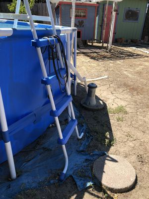 15x48 Intex pool - one year old purchased at Walmart for $600, asking 400, you must disassemble and pickup. Filter, ladder, chlorine dispenser inclu for Sale in Stockton, CA