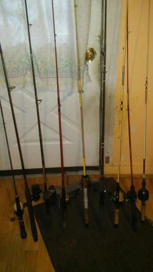 10 Fishing poles and 2 rails for Sale in Pittsburgh, PA