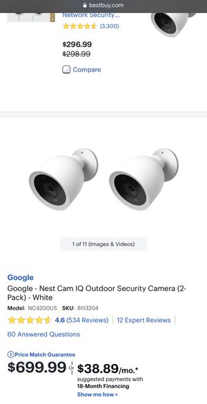 Nest Cam Indoor Security Camera 2pack for Sale in North Miami Beach, FL