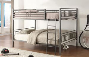 Brand New Twin Size Silver Metal Bunk Bed Frame (No Mattress) for Sale in Silver Spring, MD