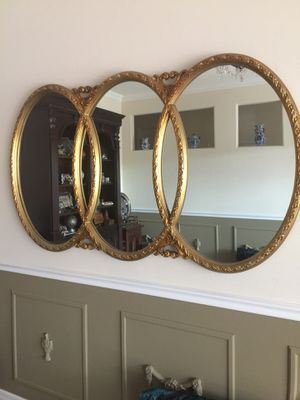 Vintage gold French Hollywood regency triptych triple interlocking oval wall mirror for Sale in Saint Cloud, FL