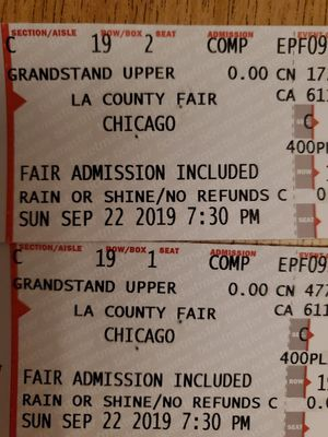 (2) Chicago Concert at LA county fair Sept 22 for Sale in Alhambra, CA