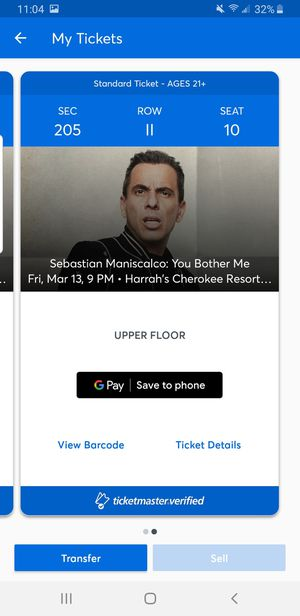 Sebastian Maniscalco show for Sale in Greenville, SC