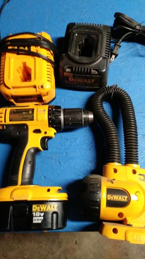 18 volt drill with battery and two Chargers and a flush light work good no shipping or delivery. Obo for Sale in Fresno, CA