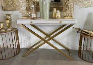 $145 - White/ Gold, Faux Leather & Meal, Console Table for Sale in South El Monte, CA