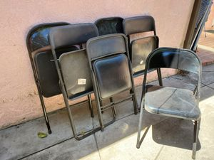 Black aluminum folding, stacking chairs for Sale in Culver City, CA