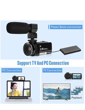 """2.7K Video Camera HD Vlogging Camera Camcorder for YouTube 3.0"""" IPS Touch Screen IR Night Vision 16X Digital Zoom Recorder with Microphone,Len Hood, for Sale in Queens, NY"""